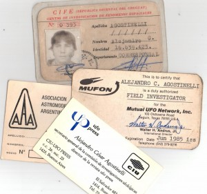 Credenciales de A Agostinelli Ufologo 1980-1985