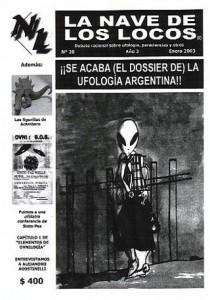 """Portada de """"La Nave de los Locos"""" N° 20, Enero de 2003. Dossier Ufología Argentina"""