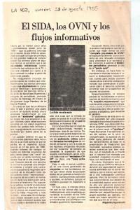 """Primera nota firmada de Agostinelli (diario """"La Voz"""", 1985)."""
