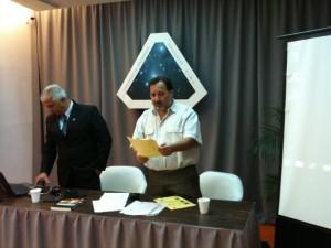 Con Ariel Sánchez, durante una presentación de la CRIDOVNI en Buenos Aires (Marzo 2011).