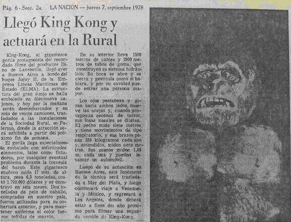 Kong en La Nacion 7-9-1978